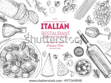 italian cuisine top view frame. ...