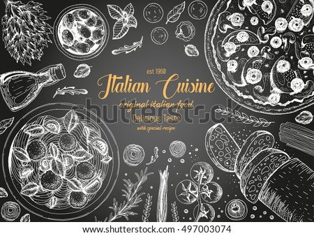 Italian cuisine top view frame. A set of classic Italian dishes with pasta and meatballs, pizza, ciabatta. Food menu design template. Vintage hand drawn sketch vector illustration. Engraved image.