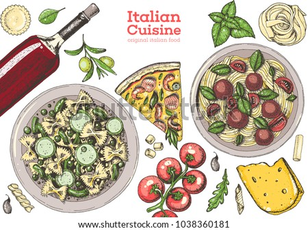 Italian cuisine top view frame. A set of Italian dishes with pasta, pizza, ravioli, cheese. Food and drink menu design template. Vintage hand drawn vector illustration. Colorful  image EPS10