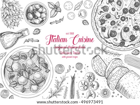 italian cuisine top view frame