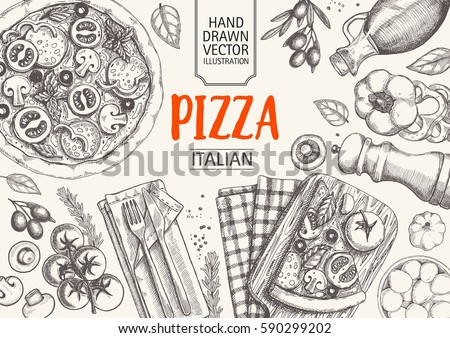 Italian cuisine top view frame. Italian food menu design. Vintage hand drawn sketch vector illustration