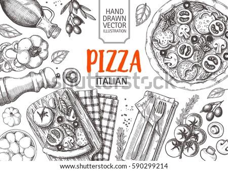 italian cuisine top view frame