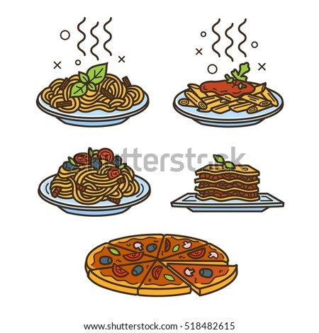 italian cuisine  vector colored