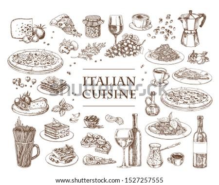 Italian Cuisine vector illustration. Set of traditional italian dishes. Food menu design template. Vintage hand drawn sketch. Engraved image