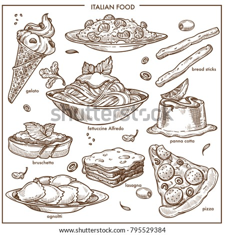 Italian cusine sketch dishes pizza, pasta, meat and dessert vector icons set