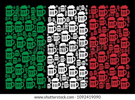 Italian flag flat mosaic combined with beer glass icons on a black background. Vector beer glass design elements are united into conceptual Italy flag pattern.