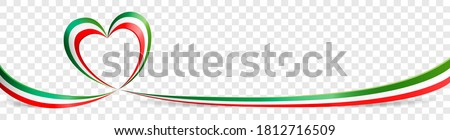 Italian flag heart shaped ribbon banner on transparent background