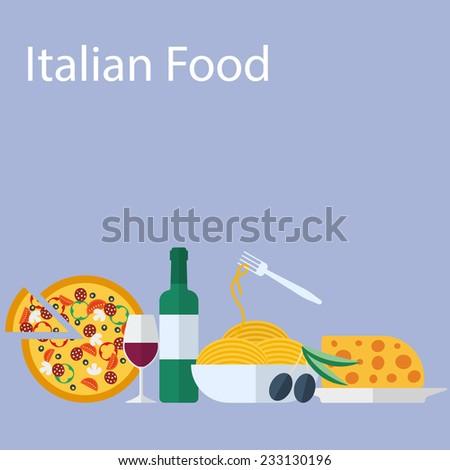 Italian food flat vector background