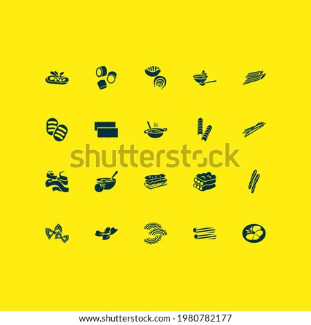 Italian food icons set with lasagna pasta, rigatoni pasta, ave marie pasta and other gnochi elements. Isolated vector illustration italian food icons. Foto stock ©