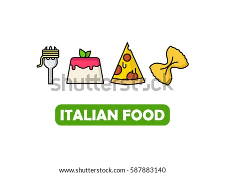 Italian food icons with pasta, pizza, panna cotta flat outline icon