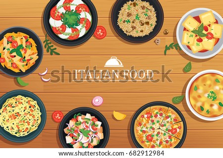 Stock Photo Italian food on a wooden table background. Vector illustration top view.