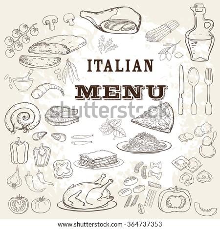 italian food set. hand drawn...
