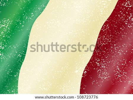 Italian grunge flag. Grunge effect can be cleaned easily.