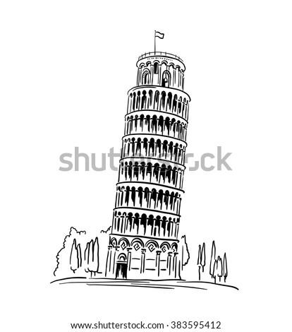 italian landmark piza tower  ...
