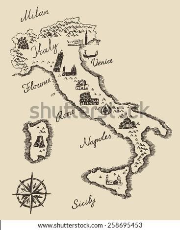 italian map old school style ...