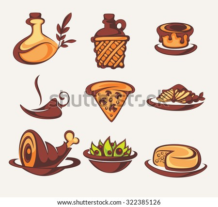 Italian menu, vector collection of food and beverages symbols