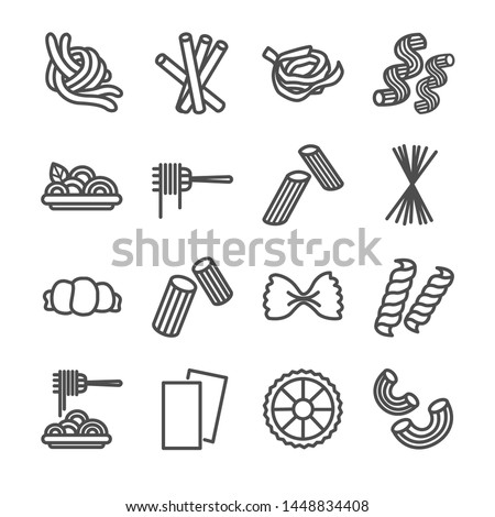 Italian Pasta food icons set