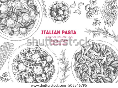 Italian pasta frame. Hand drawn vector illustration of an Italian pasta top view. Food design template. Farfalle, Penne and Spaghetti illustration. Classic italian cuisine.