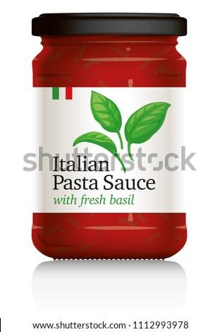 italian pasta sauce jar  with