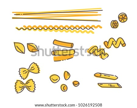 Italian pasta set, vector linear icons isolated on white background