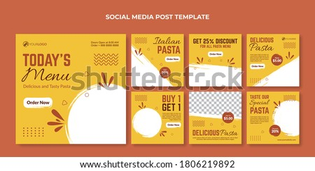 Italian pasta square banner for restaurant or cafe. Food social media banner