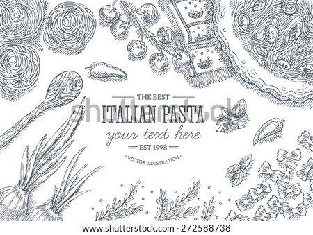 italian pasta top view table