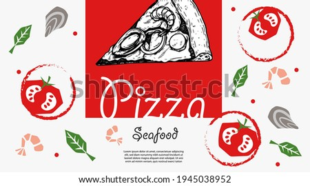 Italian pizza design template. Pizza Frutti Di Mare (seafood) in hand drawn sketch style and pizza ingredients in flat modern style. Best for flyers, menu designs, banners, packages and other.  Foto d'archivio ©
