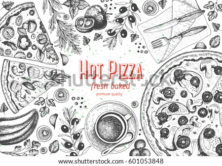 Italian pizza top view frame. A set of classic Italian dishes. Italian food, pizzeria menu design template. Vintage hand drawn sketch vector illustration. Engraved image.