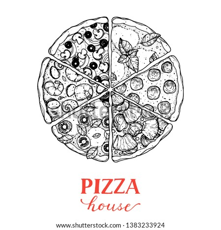 Italian pizza vector illustration. Hand drawn sketch pizza. Italian food. Package design. Pizza slices in a circle.