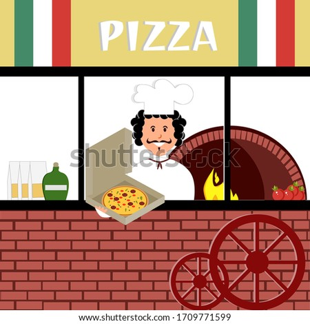 Italian pizzeria with a cook and a stove, pizza in a box. Vector isolated painting art