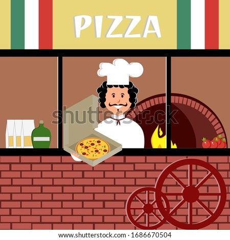 Italian pizzeria with a cook and a stove, pizza in a box. Vector painting art