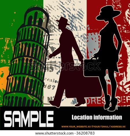 Italian Travel Flyer - stock vector
