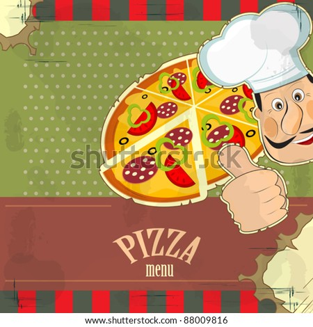 Italian vintage menu - chef and a pizza  on grunge background