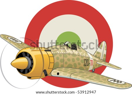 Italian WW2 airplane on the air force insignia background