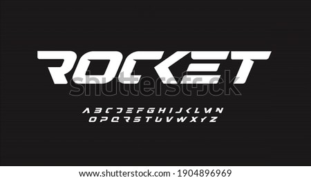 Italic bold speed alphabet. Rocket futuristic font, minimalist type for modern sport logo and space science logo. Fast action style letters set, vector typography design. Free style geometric type