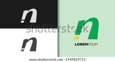 italic letter n logo set template vector Foto stock ©