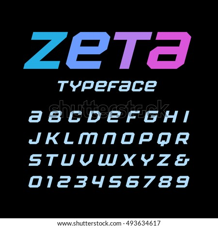 Italic square font. Vector alphabet with latin letters and numbers.