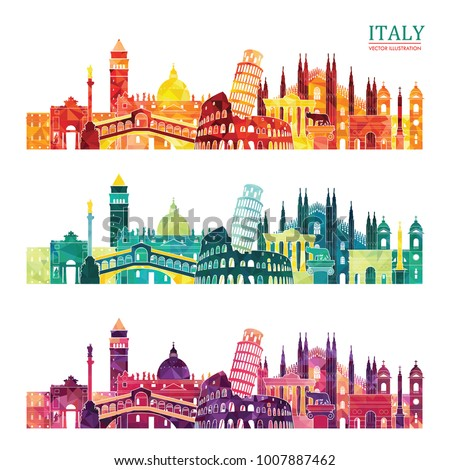 Italy colorful detailed skyline. Travel and tourism background. Vector illustration