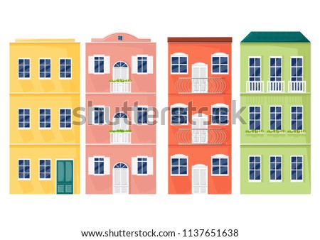 italy colorful facades vector