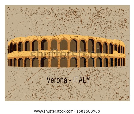 Italy culture concept represented by arena di verona icon. Isolated and flat illustration. Building view of Verona is a city in northern Italy's Veneto region. Amfiteatr Zdjęcia stock ©