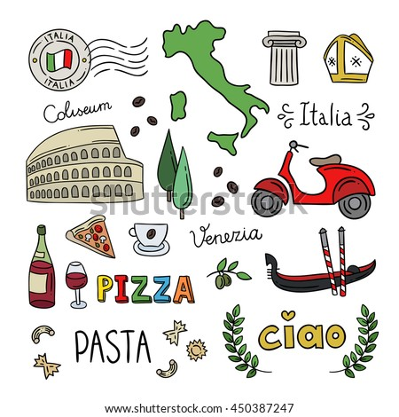 ... Hand drawn icons for Italy: Rome, Venice, pasta, pizza design elements
