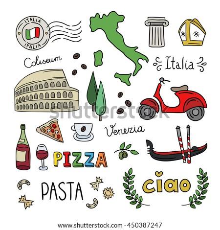 Royalty Free Cartoon Italian Culture Symbols Pisa 377699314 Stock