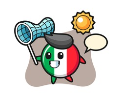 Italy flag badge mascot illustration is catching butterfly, cute style design for t shirt, sticker, logo element