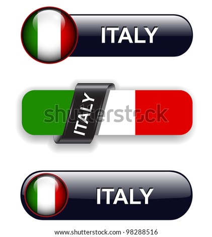Italy flag banners, icons theme. - stock vector