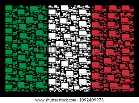 Italy flag flat concept constructed of delivery lorry icons on a black background. Vector delivery lorry symbols are organized into geometric Italy flag composition.