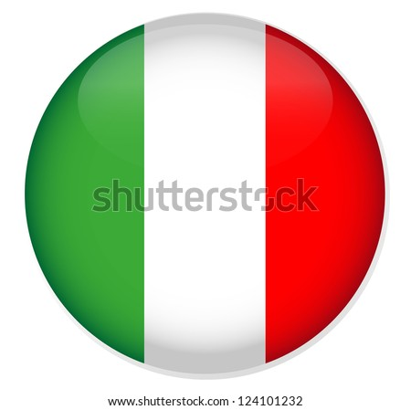 Italy Flag Glossy Button,Vector