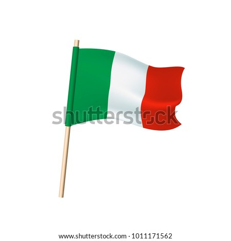 Italy flag (green, white and red vertical stripes). Vector illustration