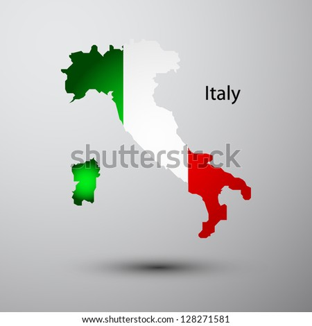 Italy flag on map of country