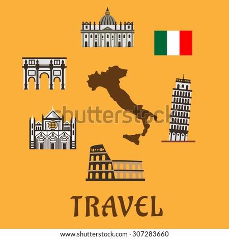 italy flat travel symbols and