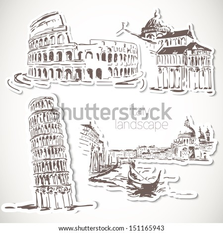italy  hand drawn landscape in...